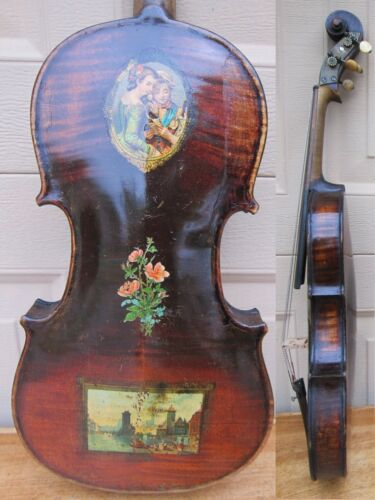 1892 LYON & HEALY VIOLIN. DECALCOMANIE ITALY PICS, PATENT HEAD. FOR RESTORATION