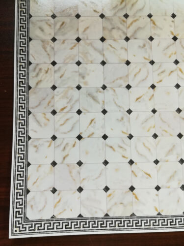 Dollhouse Miniature Black & White Marbled Tile Flooring with Diamonds 1:12 Scale