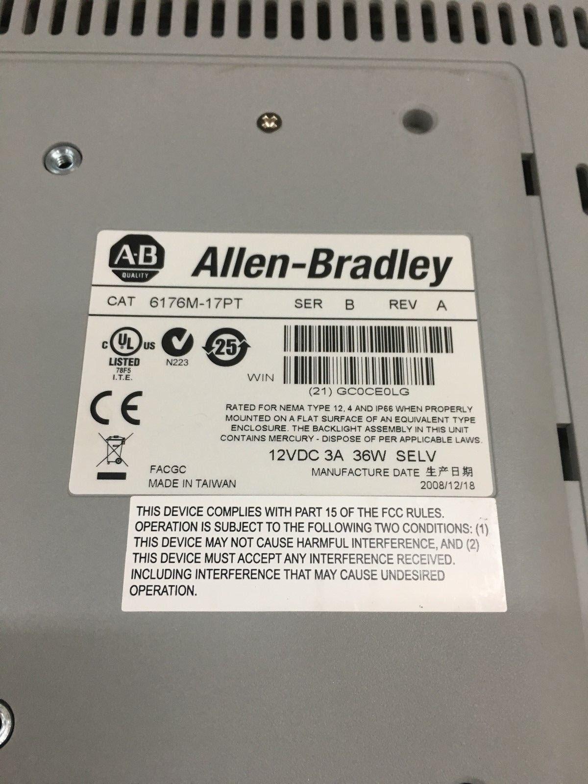 USED ALLEN-BRADLEY VERSAVIEW 1750M TOUCHSCREEN INDUSTRIAL