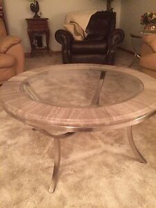 Round coffee table and 2 end tables