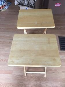 Folding wood end tables