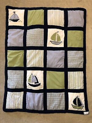 Nautica Kids Baby Comforter Quilt Blue Sailboats Bedding EUC