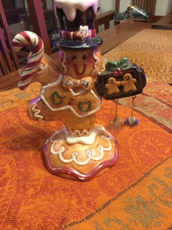 Christmas Gingerbread Man Ceramic  (3) Candle  Holder