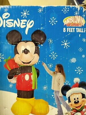 8' Gemmy inflatable Disney Mickey Mouse hiding a present 8 ft tall holiday IOB
