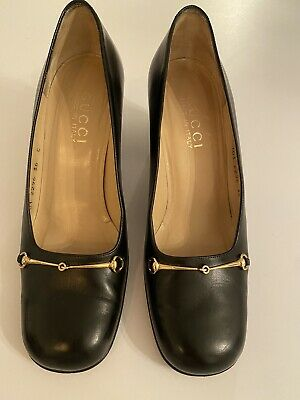 GUCCI Vintage Horse bit Black shoes Loafer Pumps Leather Womens size 36 C