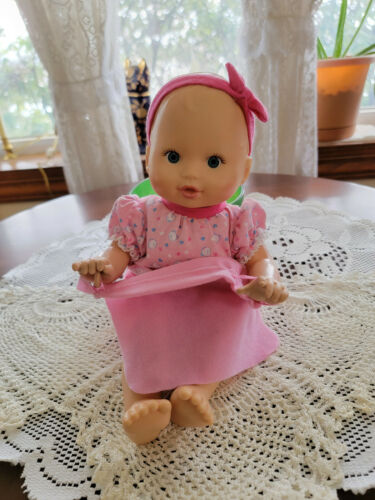 Fisher Price Peek A Boo Blue Eyed Baby Doll Dressed in Pink with Blanket Interac
