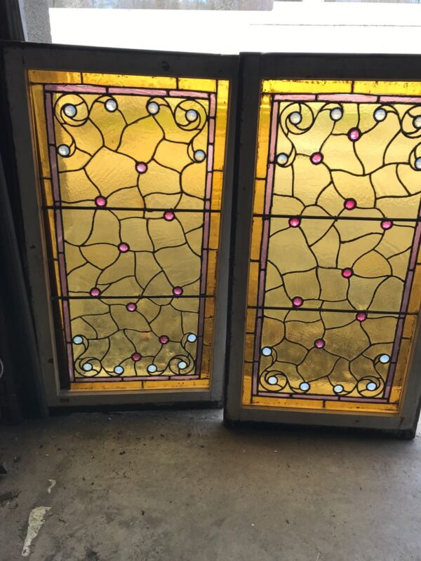 MK 64 two available price each Antique Jeweled stained Glass Window 22 x 40
