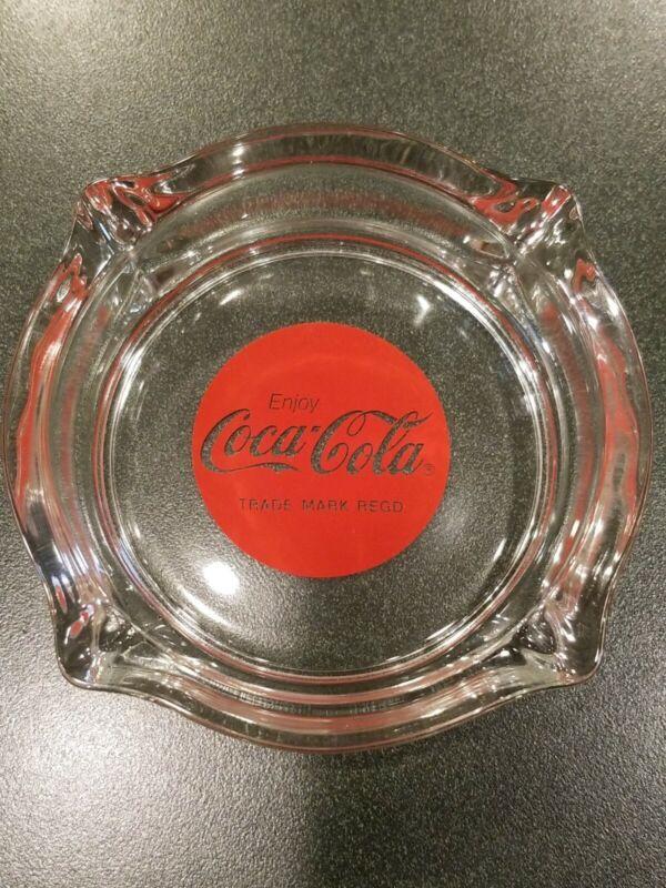 "VINTAGE ENJOY COCA COLA ART GLASS ASHTRAY 4.5"" RARE"