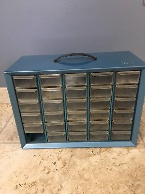 Vintage Blue Metal Akro Mills 30 Drawer Storage Cabinet Hardware Bin