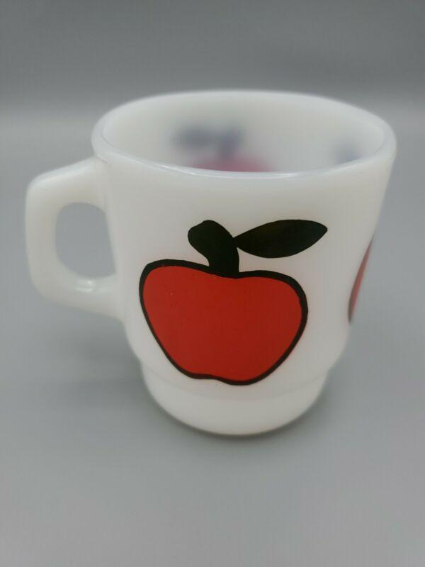 Vintage Anchor Hocking Fire King Milk Glass Fruit Stacking Mug Coffee Cup APPLE