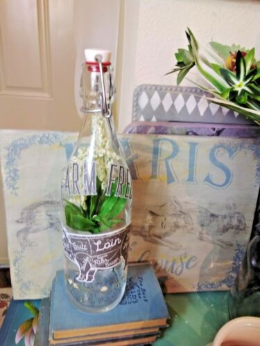 decorative bottle with pig transfers