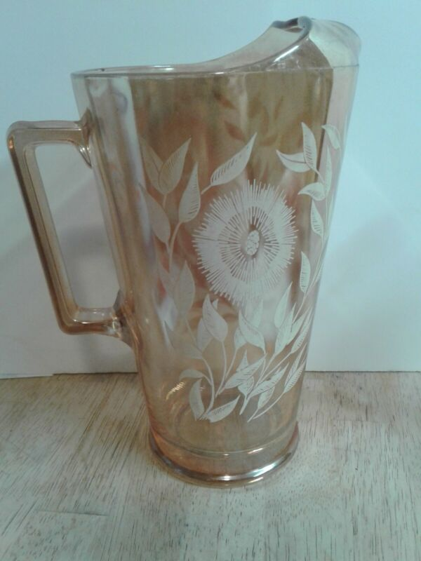 Large Jeanette Marigold Carnival Glass Pitcher