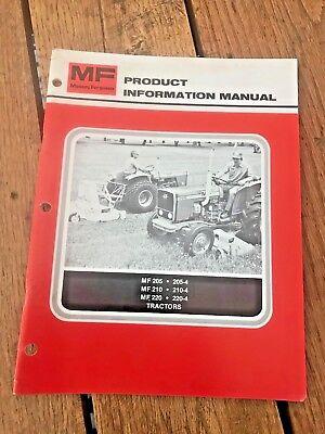 Mf 205 210 220 Tractors Product Information Manual Vintage Massey Ferguson 1979