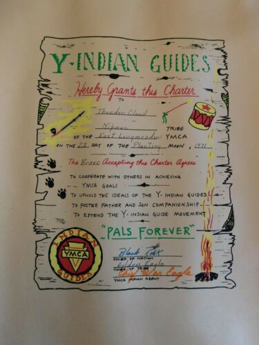 1971 YMCA Indian Guides Scouts Charter Ceremony Pals Forever Lithograph Camp