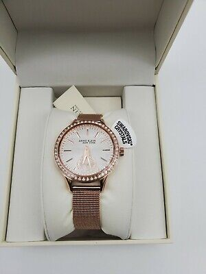 Anne Klein New York 12/2306SVRG Womens 34mm Crystal Accent Rose Tone Steel Watch