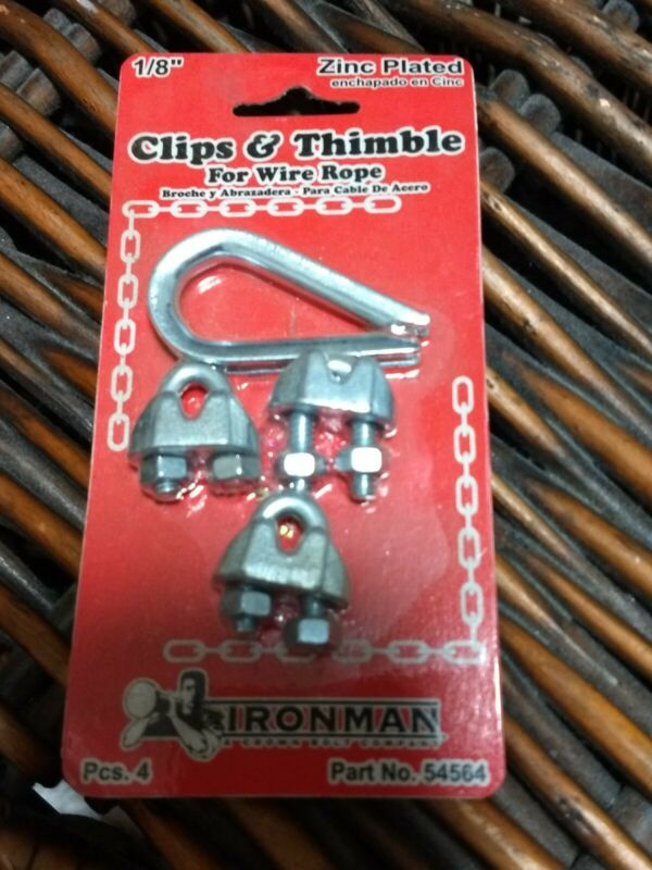 """1/8"""" Cable Clips/Thimble Set Zinc Plated Steel U-Bolt For Wire Rope"""