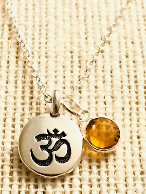 - Ohm Om Birthstone Necklace Pendant .925 Sterling Silver Personalized Charms