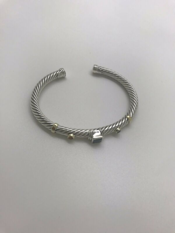David Yurman Silver 14k Iolite Blue Topaz Citrine Renaissance 5mm Cable Bracelet