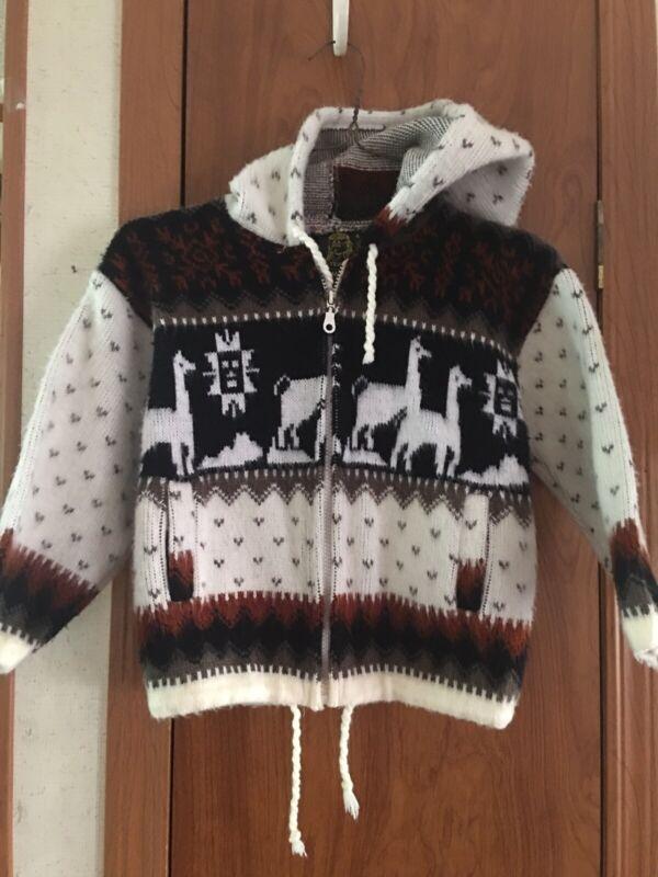 Tejidos Ruminahui Boys Toddler Size 4T Hooded Sweater Jacket Alpaca Zip Up GUC