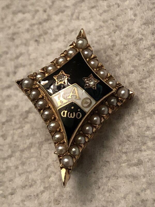 Kappa Alpha Theta Sorority Enameled Pin 1940 14k Gold Seed Pearls Diamond