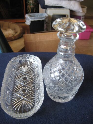 Crystal Decanter with Top and Oval Bowl ~ Heavy Cut Glass