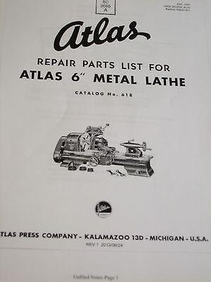 Atlas Lathe 6 Inch No.618. Repair Parts Manual And Parts List
