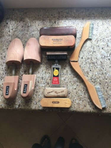 EIGHT Vintage Shoe Care: Esquire, Star Brush, Kiwi, Horsehair, Shoe Stretchers