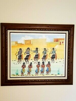 HOPI INDIAN SNAKE DANCERS O/B PAINTING BY P SHORTY NATIVE AMERICAN OUTFIT PUEBLO