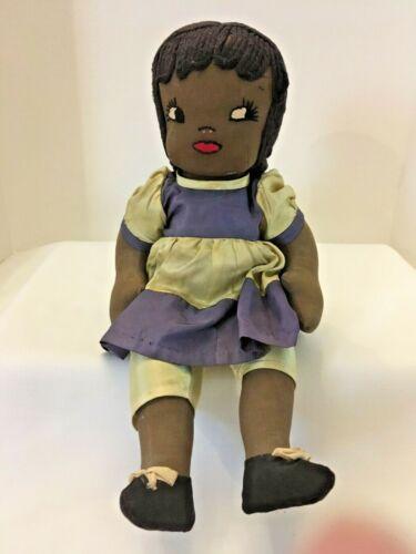Handmade African American Cloth Doll, circa 1940s