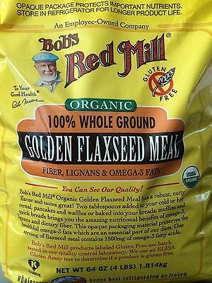 Flax Seed Gluten Free - Bob's Red Mill Organic Whole Ground Golden Flax Seed Meal 64 oz(4 LBS), FreeShip