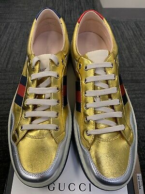 NEW AUTHENTIC Gucci Mens MORE Metallic Leather Gold Silver Web Sneakers 12/13 US