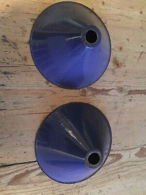 vintage enamel lamp shade x 2