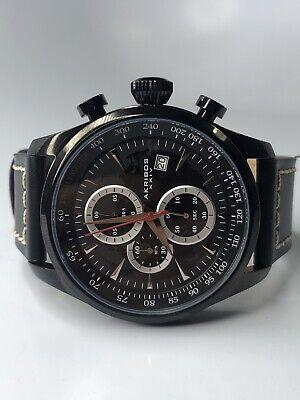 Men's Akribos XXIV AK915BK Chronograph Black Leather With White Stitching Watch