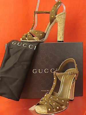 NIB GUCCI JACQUELYNE BROWN SUEDE GOLD STUDS STUDDED CORK HEEL SANDALS 37.5 $900