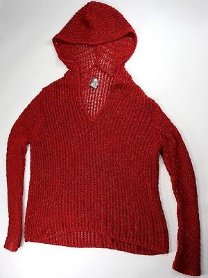 Chicos Womens Red Lose Chunky Knit Hooded Pullover Sweater Size -