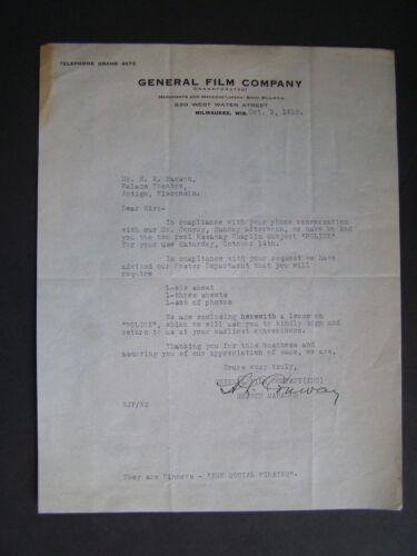 Vtg Movie Letterhead General Film 1916 Police Charlie Chaplin Edna Purviance