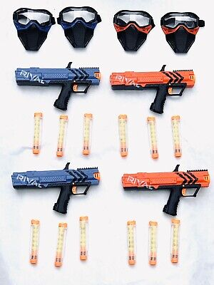 NERF Rival Apollo XV-700 Blaster Lot - Red Blue Guns Masks Extra Clips Magazines
