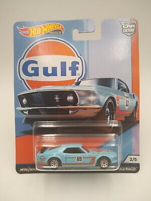 "2018 HOT WHEEL CAR CULTURE ""GULF"" '69 FORD MUSTANG BOSS 302 WITH REAL RIDERS-2/5"