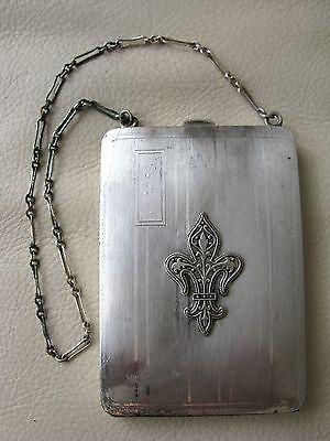 Antique Art Nouveau Deco Silver Fleur De Lis Coin Holder Card Case Compact ELGIN