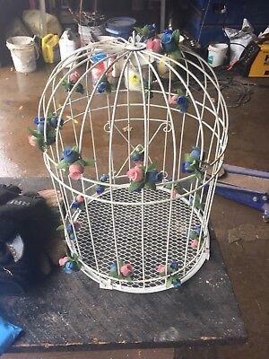 Gorgeous Antique Style White Iron Bird Cage Urban farmhouse Decor!