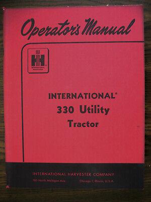 Ih Farmall Mccormick International 330 Utility Owners Manual
