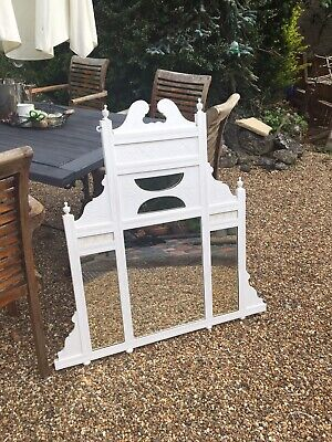 Victorian antique Overmantle / Hall mirrorPainted White