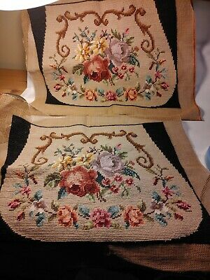 Pair of Antique Handmade Needlepoint Floral Tapestry Chair Covers for Upholstery