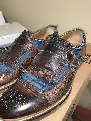 Doucal's Monk Strap Brown Leather & Blue Denim size 11