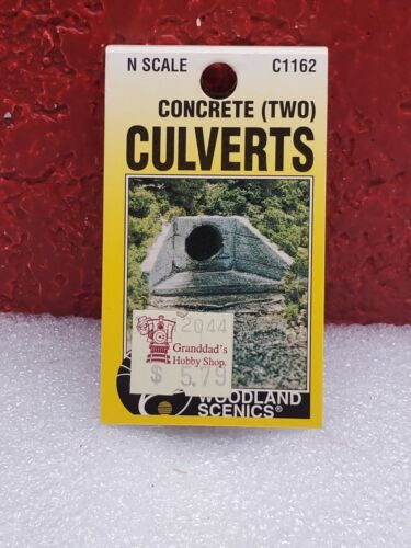WOODLAND SCENICS CONRETE CULVERTS C1162 N SCALE NEW IN PACKAGE