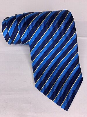 """Alfred Dunhill 100% Silk Necktie Blue Striped Classic Woven 56"""" England Tie for sale  Shipping to India"""