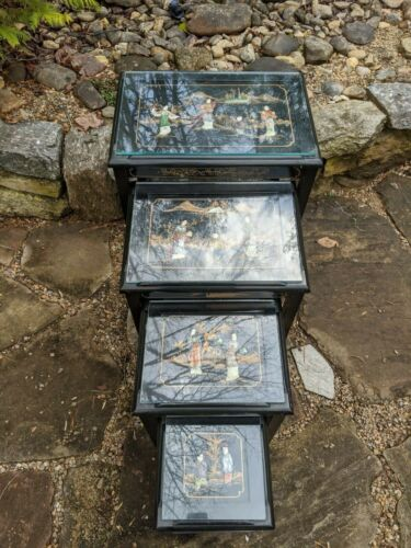 Set of 4 Asian Chinoiserie Black Lacquer Inlaid Stone & Glass Top Nesting Tables
