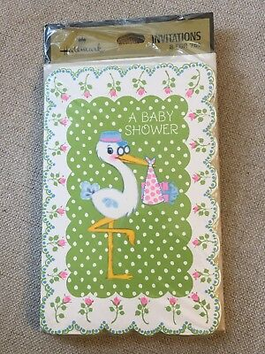 Vtg Hallmark MIP Baby Shower Invitations Shabby Chic Roses & Stork](Shabby Chic Baby Shower Invitations)