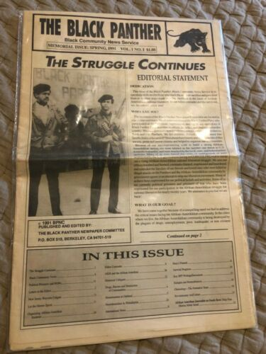 Rare! The Black Panther Newspaper Special Memorial Issue Vol.1 No.1 Spring 1991