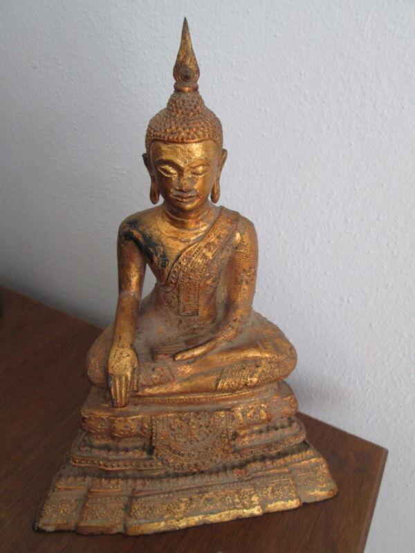 THAI   BRONZ  SEATED  BUDDHA HANDMADE ,MIX MATERIAL ,STATUES   1900  CENTURY  .